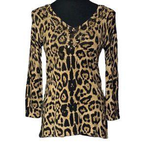 REBA Animal Print Sweater V Neck Beaded Neck Sz S
